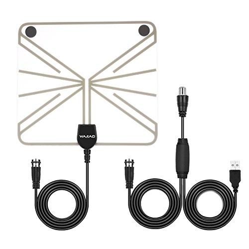 TV Antenne , Digitale HDTV Fernseher Antenne Zimmerantenne mit 50 dB Verstärker & 10 Fuß Koaxial kabel Verstärker Signal für Ultra-Dünne Digitale TV Tuner (Transparent-50Meilen)