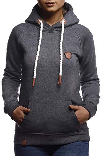 LEIF NELSON Damen Pullover-Hoodie Kapuze Kapuzenshirt | Moderner Sweatshirt-Kapuzenpullover | Frauen Longsleeve-Pulli Slim Fit Kängurupullover Kapuzenpulli | LN1925 Anthrazit Large