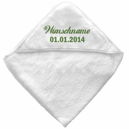 malango Baby Babybadetuch Kapuzenbadetuch Kapuze Handtuch Badetuch bestickbar mit Wunschname Wunschtext 75 x 75 cm GARNFARBE: pink
