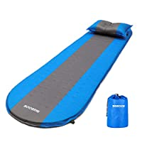 SGODDE Inflatable Sleeping Mat Camping Self Inflating Sleeping Pad with Pillow, Compact Lightweight Mattress Inflatable Roll Up Foam Bed Pads for Outdoor Backpacking Hiking 16