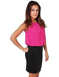 KRISP Damen 2in1 Kleid Mini Rock Stretch Chiffon Bluse