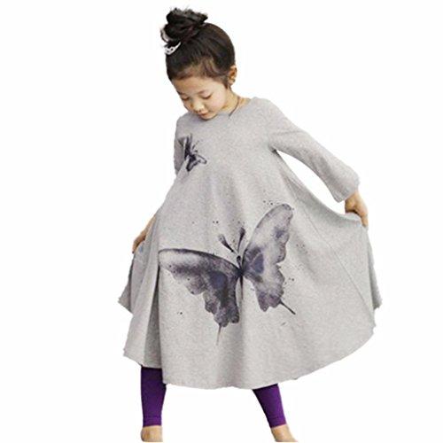 AMUSTER.DAN Mädchen Kinder Kleid Baby Mädchen Lange Ärmel Schmetterlings-Druck O-Ausschnitt Baumwollkleid (140, (Rock Kostüm Ad)