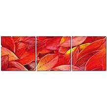 Bilder 3er-Set gelbe Lilien Blumen Blatt Ranken Holzfaserplatte Kunstdruck Bild