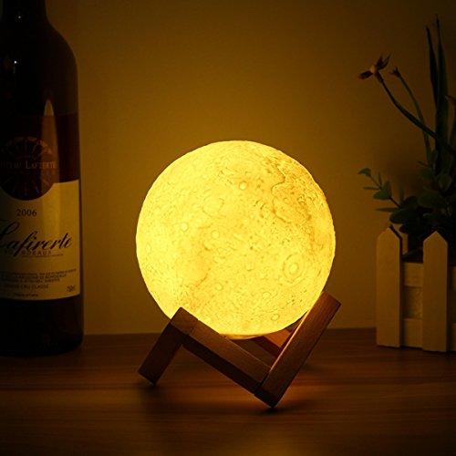 Taihang 13cm magischer Hahn-Sensor-Mond-Tabellen-Lampe USB, das wiederaufladbare Luna LED Nachtlicht-Geschenk auflädt (Mond-tabelle)