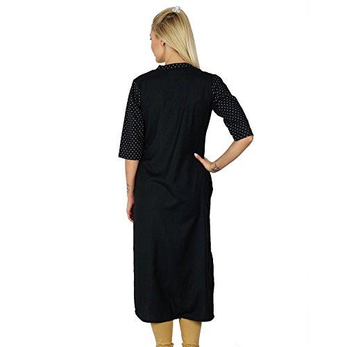 Bimba Style Chic Noir Top Tunique Boho manches 3/4 Chemisier à empiècement Noir