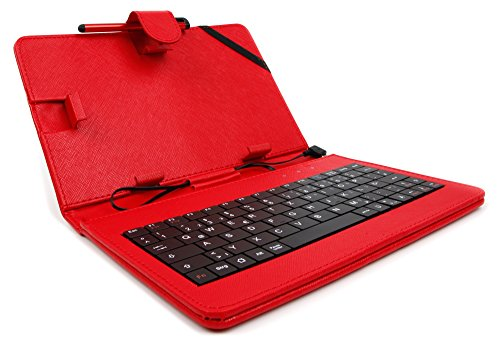 Deutsche 7-Zoll-Tastatur mit QWERTZ-Layout in Rot für HTC One M9 | M9 + | M9 Plus, Cubot Max + Rainbow| Cubot Dinosaur 5.5