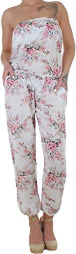 BD Damen Jumpsuit Overall Stretch Einteiler Sommerhose Strandhose Bandeau mit Blumenmuster weiß (Leichtes Bandeau)