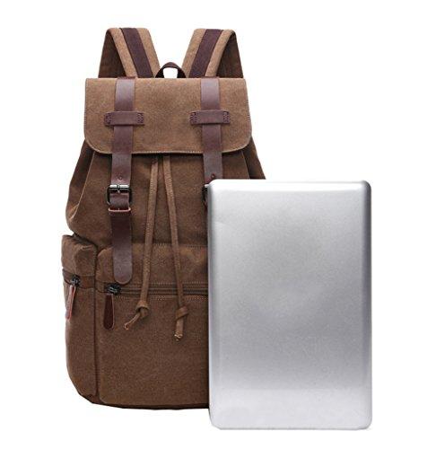 Super moderno Casual in tela e pelle zaino Bookbag Satchel escursionismo borsa Laptop, Uomo, Black Khaki