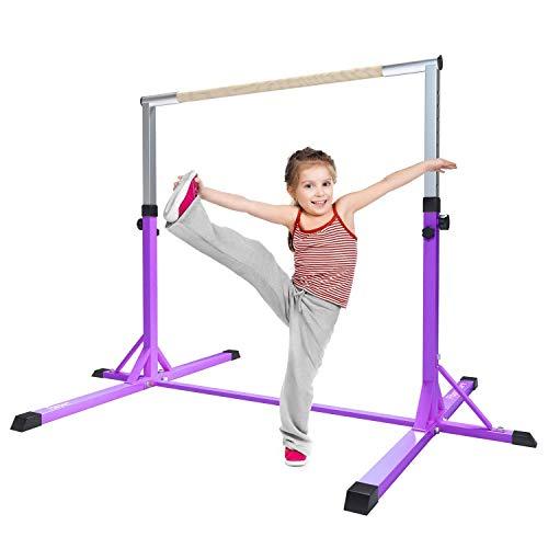 Fbsport ginnastica barre orizzontali ginnastica bar giardino per bambini casa per bambini attrezzature per l'allenamento sportivo ginnastica alta regolabile orizzontale (viola)