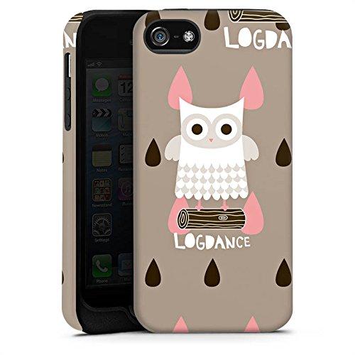 Apple iPhone 5s Housse Étui Protection Coque Hibou Hibou Bois Cas Tough terne