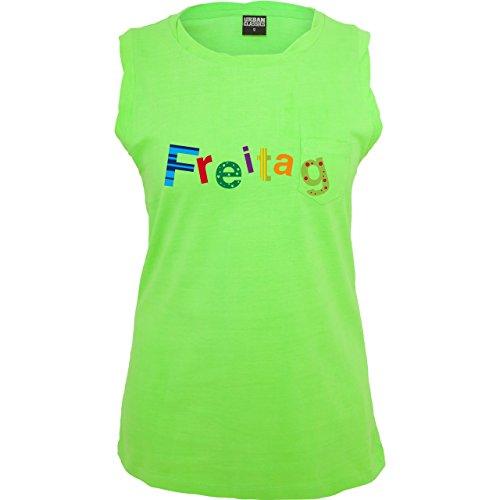 Statement Shirts Freitag ärmelloses Damen TShirt mit Brusttasche Neon Grün