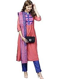 ba7193f61a Jaipur Kurti Women Coral & Blue Solid Straight Chanderi Kurta with Pant  Dupatta