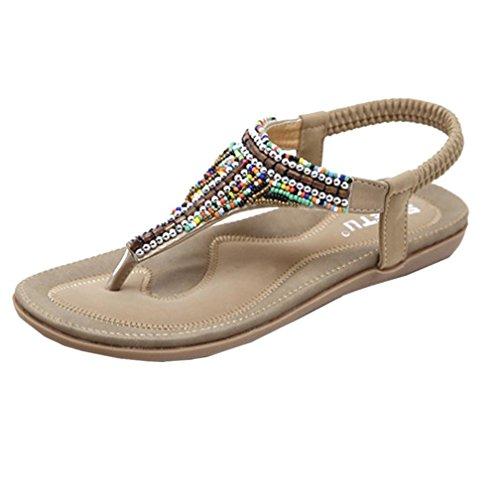 VJGOAL Damen Sandalen, Frauen Mädchen böhmischen Mode Flache beiläufige Sandalen Strand Sommer Flache Schuhe Frau Geschenk (39 EU, V-Khaki)