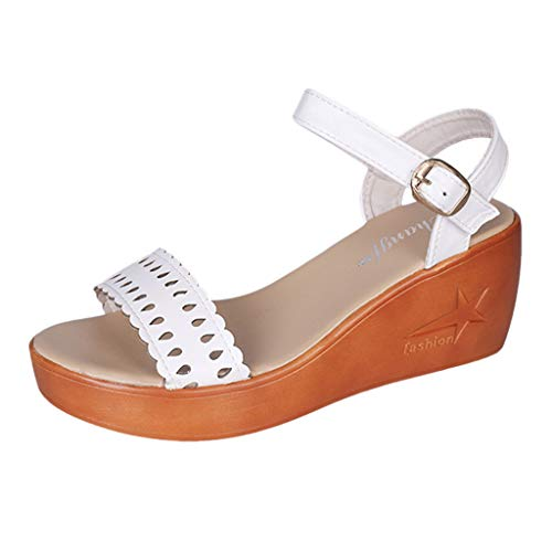 koperras Women's Hollow Sandals - Women's Summer Fashion Breathable Wedges Daily Lace Shoes Cork Wrap Wedge