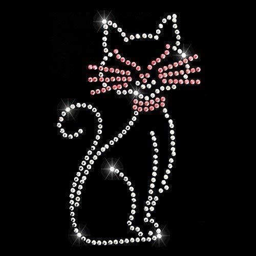 Fan-Omenal Strassteine Strassmotiv Zum aufbügeln Motiv Katze Cat- Gr. ca. 6,5cm x 10cm