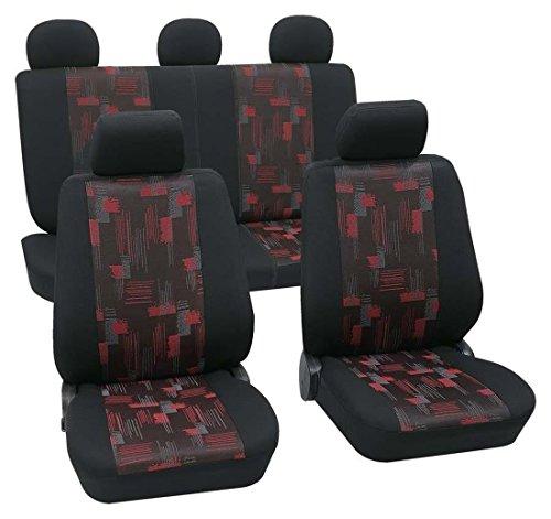 Preisvergleich Produktbild Sitzbezug Schonbezug Autositzbezug, Komplett Set, Seat Altea Freetrack, Schwarz, Rot