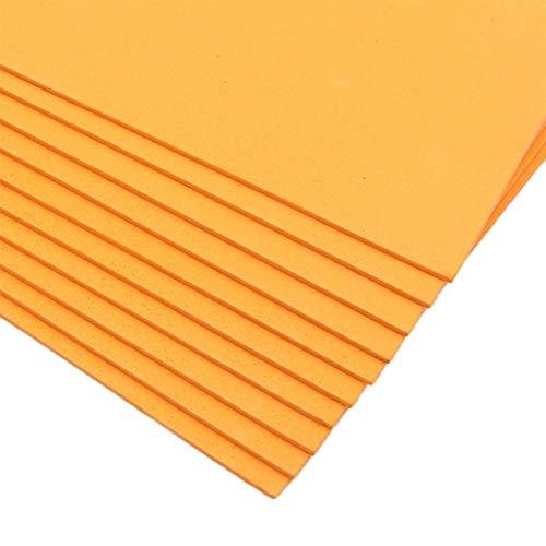 10 Stück A4 2 mm dicke Schwammpapier DIY, EVA 16 K Schaum Blätter Schwamm Papier Nadelarbeiten Filz DIY Basteln Material Handarbeit Kunst Handwerk für Kinder Kindergarten Orange -