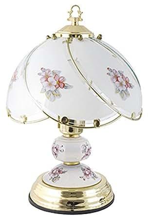 Porcelaine traditionnelle Pastoral 60 w Pink Flower Touch-Lampe en laiton poli