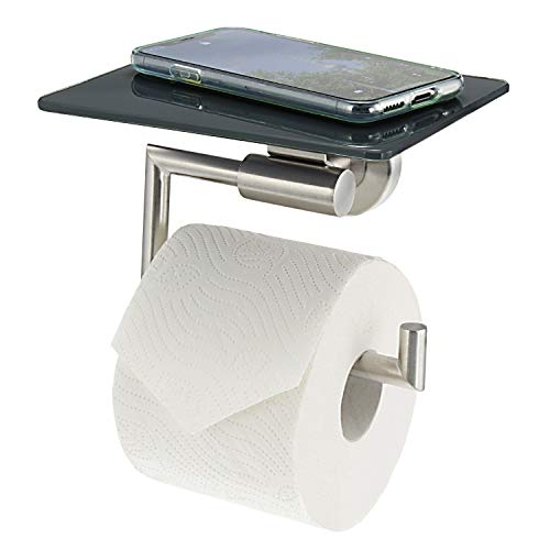 bremermann Bad-Serie PIAZZA - Toilettenpapierhalter mit Ablage aus Glas, grau