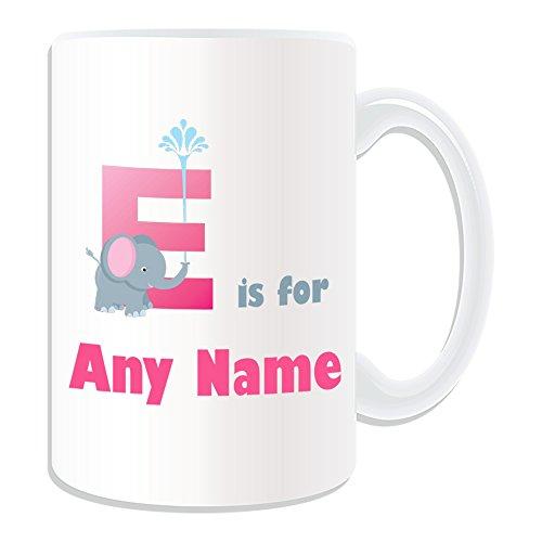 Personalisierte Geschenkbox Buchstabe E Buchstaben-Tasse (Weiß) Nachricht/Name auf das einzigartige-A B C D E F G H I J K L M, N, O, P, Q, R S T U V W Y Z ursprünglichen Echo Elefant mit phonetischen Symbole