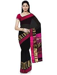 Mujaffara Ansari Maheshwar Cotton and Silk Saree (Pink)