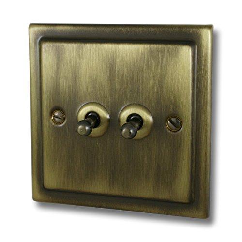 G & H Brassware TAB282Victoriano Antiguo Latón 2Gang 2Vías interruptor
