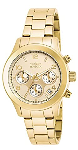 INVICTA Angel Women's Quartz Watch with Gold Dial Chronograph Display and Gold Plated Stainless Steel Bracelet -