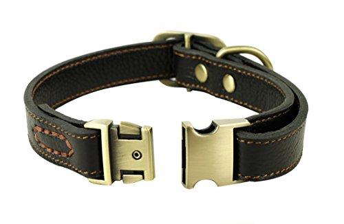 Rantow Collier réglable en cuir pour chiens, col de 30 cm à 43 cm et 2 cm de large, collier fait main pour chiens moyens / petits (noir)