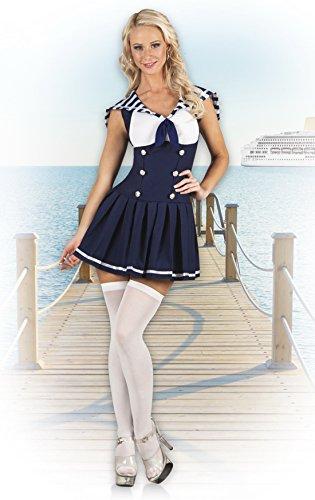 erdbeerloft - Damen Matrosen Matrosin Kostüm, Karneval, Fasching, Dunkelblau, (Frauen Halloween Für Seemann Kostüm)