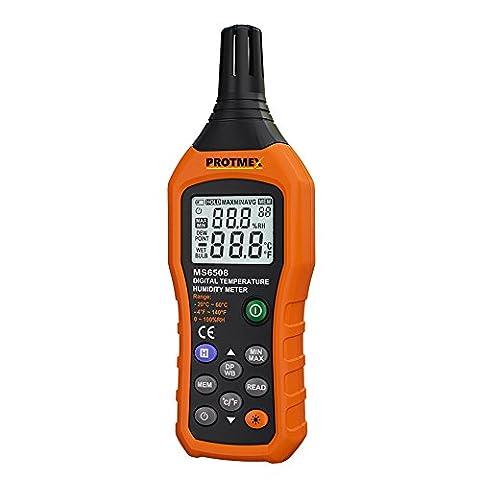 Protech MS6508 la température humidité Thermomètre de la température de de Digital lecture instantanée M Ambient artérielle) numérique LCD humidité relative Station météo Baromètre avec enregistrement des données, rueck lumière, max/min