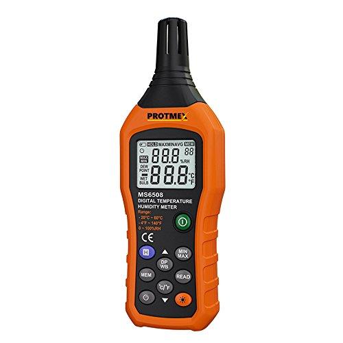 Preisvergleich Produktbild Protech MS6508 Digitaler Temperaturfeuchtigkeitsmesser Digitaler Psychrometer Temperatur Hygrometer Ambient Temperaturmessgeraet Relative Feuchtemessung Wetterstation Barometer Mit Datenaufnahme, Ruecklicht, Max/Min