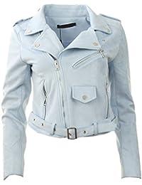 Neue Frauen-Veloursleder-Biker Zip Crop Faux Suede Blumen oder Ebene Damen-Jacken-Mantel