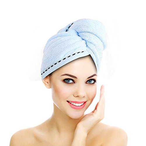 Jack & Rose Haar Turban Haartrockentuch Handtuch Kopftuch Duschhauben Haarpunzel Zuknöpfen saugfähigen Tuch Leichte Mikrofaser weiche Faser 60 * 25 cm Weihnachten Geschenke (Handtuch Wickeln Damen)