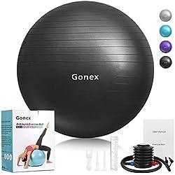 Gonex 55cm 65cm 75cm Ballon Fitness Pompe Incluse Ballon Grossesse AntidérapantBallon Gym Exercice Swiss Ball pour Yoga Pilates,Capacité de 900kg avec Guide