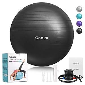 Gonex Fitness Gymnastikball Yoga Übungsball Anti-Burst mit Pumpe Schwarz...