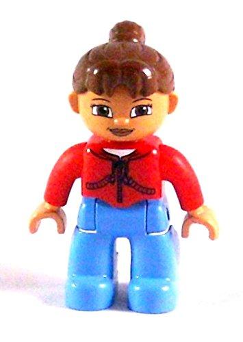 Lego Duplo Ville Frau mit Zopf + rotes Shirt