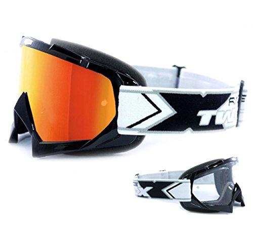 TWO-X Race Crossbrille schwarz Glas verspiegelt iridium - MX Brille Motocross Enduro Spiegelglas Motorradbrille Anti Scratch MX Schutzbrille