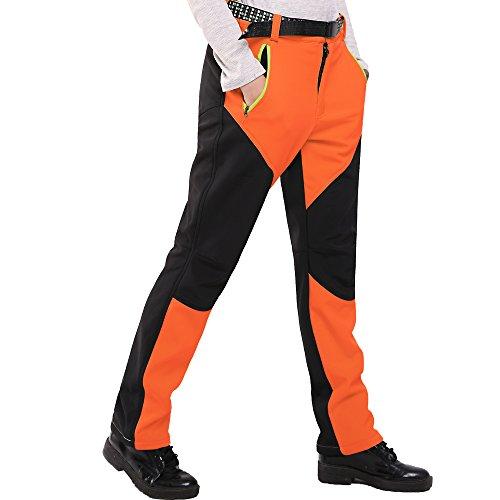 Sidiou Group Softshellhose Trekking Hosen Damen Softshell Hosen Wasserdichte Hosen Winddichte Vlies Kletterhosen Wandern Hose Frauen Trekkinghose Camping Hose (S 28 (Taille 72-80cm), Orange)