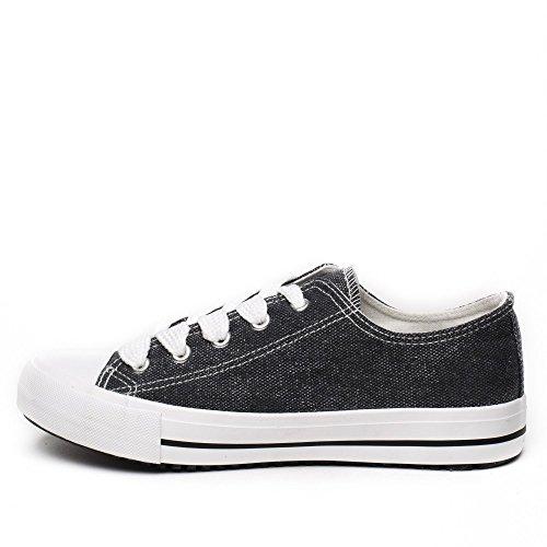 Ideal Shoes - Baskets basses en toile effet pailletée Jeanne Noir