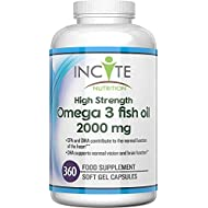 Omega 3 Fish Oil Supplement 2000 Milligram (per serving) High Strength 360 Soft Gels UK Made Fish Oil DHA EPA Omega 3 Fatty Acids
