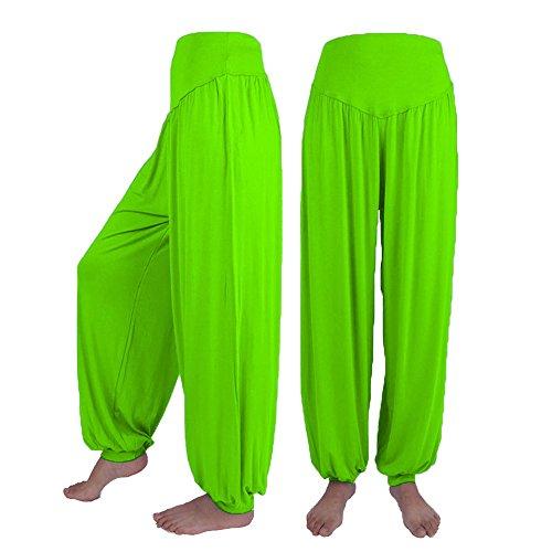 cinnamou Große Größe einfarbig lose beiläufige Yogahose Laterne breite Beinhosen,Womens elastische lose beiläufige modale Baumwolle weiche Yoga Sport Dance Harem Hosen - Ausgestellte Dance Hose