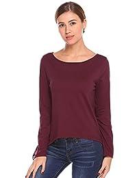Las Mujeres se dividen detrás del cordón de la Blusa del Remiendo de Manga Larga Irregular Camisa Ocasional Floja Superior