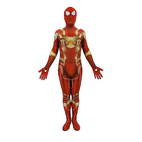 Spiderman Costume Adult Superhelden Kostüme Erwachsene,Deluxe Kind Kostüm Jungen,Halloween Karneval Kostüm,Anime Film Cosplay Kostüm,GoldAdult-L