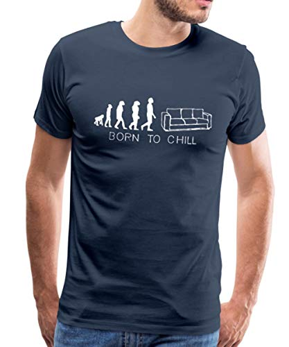 Spreadshirt Born to chill, Sofa, kanapee, diwan, Liege, Couch,Bett, Evolution, T-Shirts Männer Premium T-Shirt, M, Navy -
