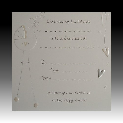 Confezione da 10inviti con fiocco per battesimo, carta di lusso con buste - bianco e argento