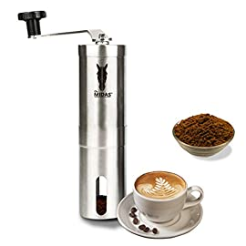Midas Upgrade-Grind – Strongest and Heaviest Duty Portable Conical Burr Mill, Whole Bean Manual Coffee Grinder for French Press, Turkish, Handheld Mini, K Cup, Brushed Stainless Steel