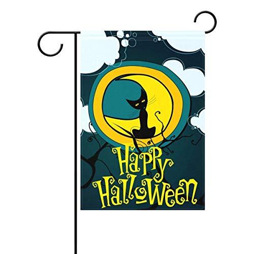 (Dozili Flagge Mondlicht Kürbis Hexe Halloween gruselig Hausdeko Garten Flagge wetterfest & doppelseitig Hofflagge, Polyester, bunt, 12.5