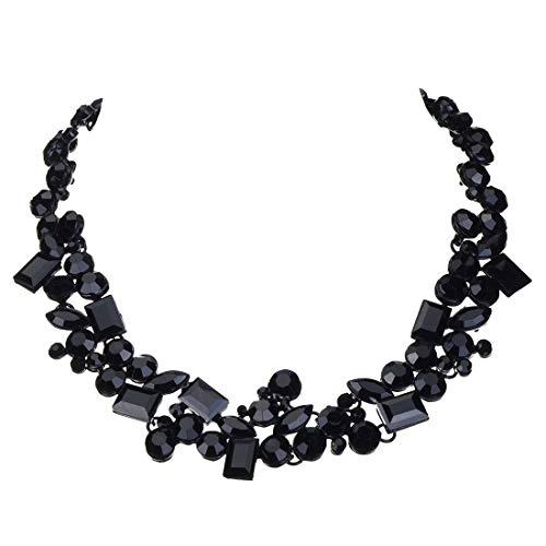 Jerollin Schoene Damen Halskette Collier Chokerkette Bib Kette Trachtenschmuck Halsreif aus schwarzen Kristallen Statement Kette Barock Perlenkette Weihnachten Geschenk