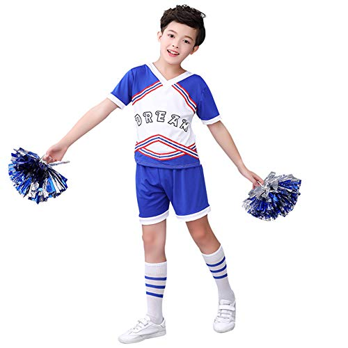Mädchen Jungen Cheerleader Kostüm Cheerleading Cheerleader Uniform Kinder Karneval Fasching Party Halloween Kostüm mit 2 Pompoms Socken (Jungen 150)