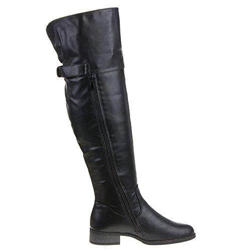 Damen Schuhe, H153-1, STIEFEL Schwarz